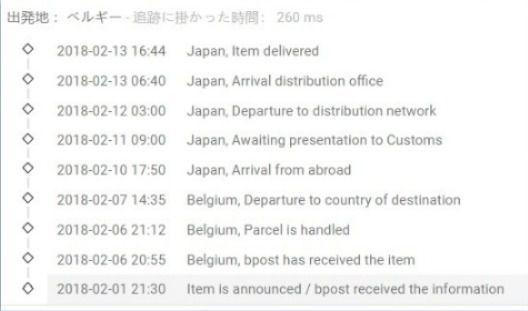 bpost(ベルギー郵便)の荷物追跡 少々遅いかも