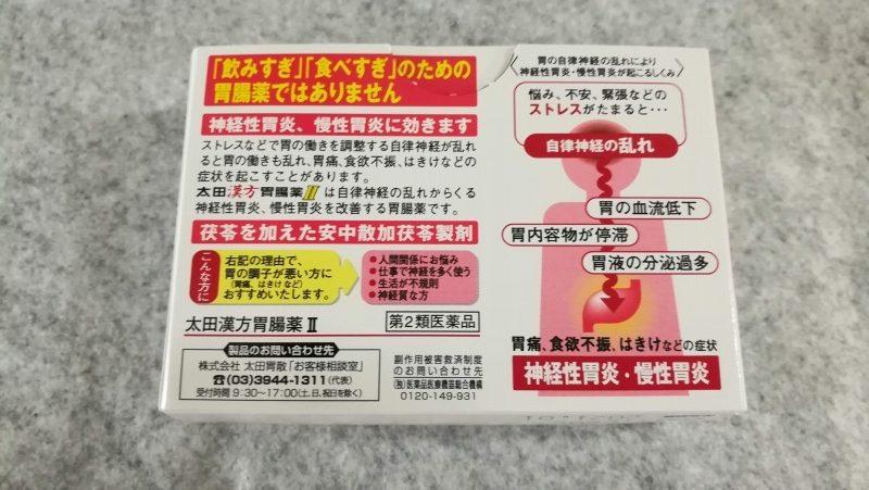 太田漢方胃腸薬Ⅱ裏面